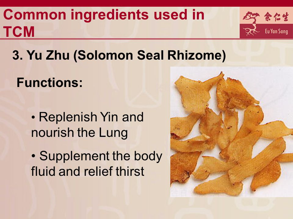Common ingredients used in TCM 3.