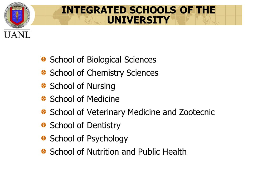 INTEGRATED SCHOOLS OF THE UNIVERSITY School of Biological Sciences School of Chemistry Sciences School of Nursing School of Medicine School of Veterinary Medicine and Zootecnic School of Dentistry School of Psychology School of Nutrition and Public Health