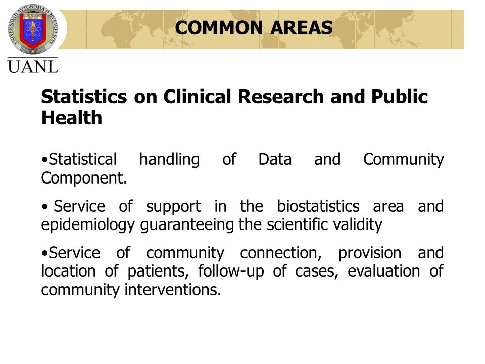 Statistics on Clinical Research and Public Health Statistical handling of Data and Community Component.