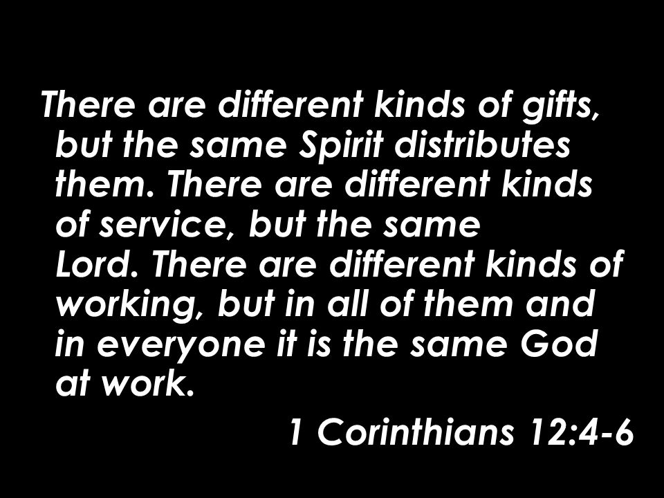 There are different kinds of gifts, but the same Spirit distributes them.