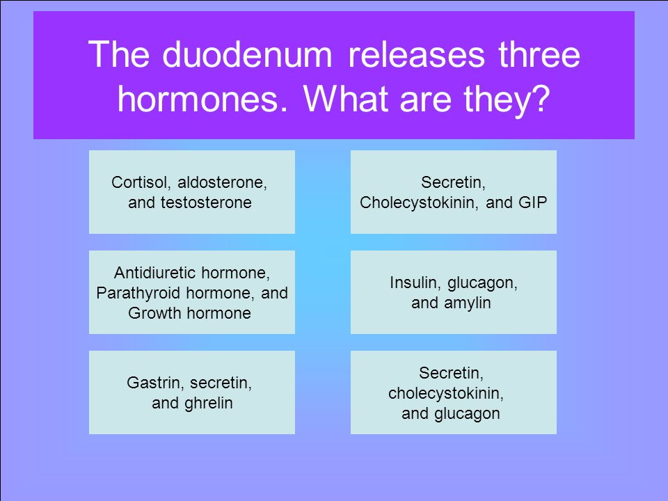 The duodenum releases three hormones. What are they.