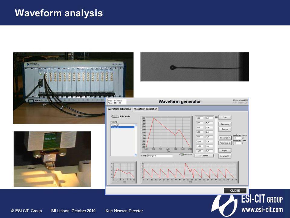  ESI-CIT Group IMI Lisbon October 2010 Kurt Hensen-Director Waveform analysis