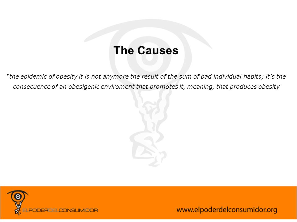 """The Causes """"the epidemic of obesity it is not anymore the result of the sum of bad individual habits; it´s the consecuence of an obesigenic enviroment"""