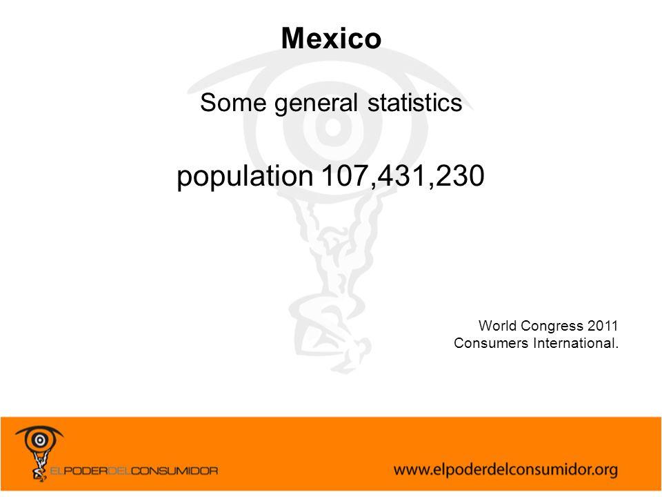 World Congress 2011 Consumers International. Mexico Some general statistics population 107,431,230
