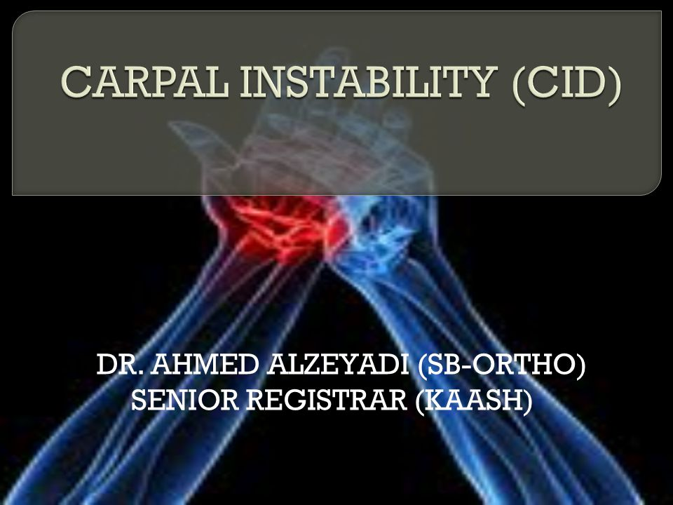 Chronicity: Acute SUBACUTE  Between 1 and 6 weeks (subacute injury), Chronic:  After 6 weeks (chronic cases  Severity: predynamic instabilities (partial ligament tears with no malalignment under stress), dynamic instabilities (complete ruptures exhibiting carpal malalignment only under certain loading conditions) static instabilities (complete ruptures with permanent alteration of the carpal alignment).