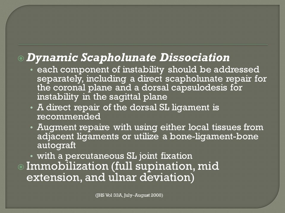  Dynamic Scapholunate Dissociation each component of instability should be addressed separately, including a direct scapholunate repair for the coron