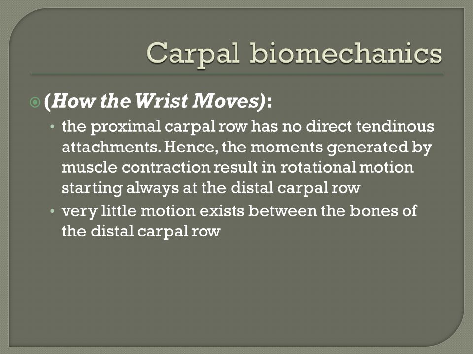  (How the Wrist Moves): the proximal carpal row has no direct tendinous attachments. Hence, the moments generated by muscle contraction result in rot