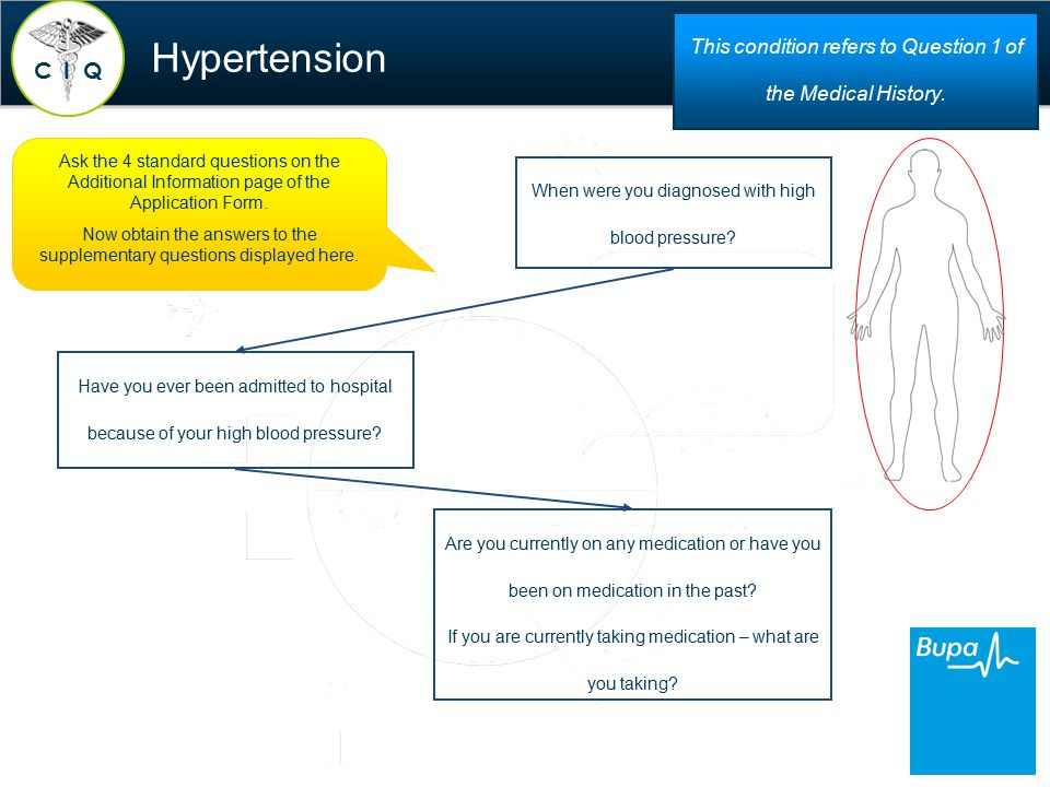 Hypertension When were you diagnosed with high blood pressure.