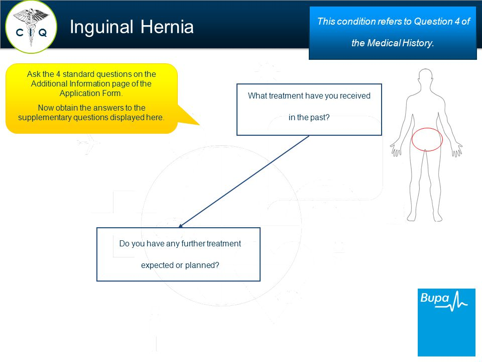 Inguinal Hernia C QI This condition refers to Question 4 of the Medical History.