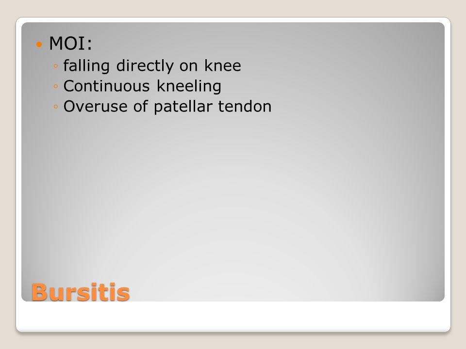 Bursitis MOI: ◦falling directly on knee ◦Continuous kneeling ◦Overuse of patellar tendon