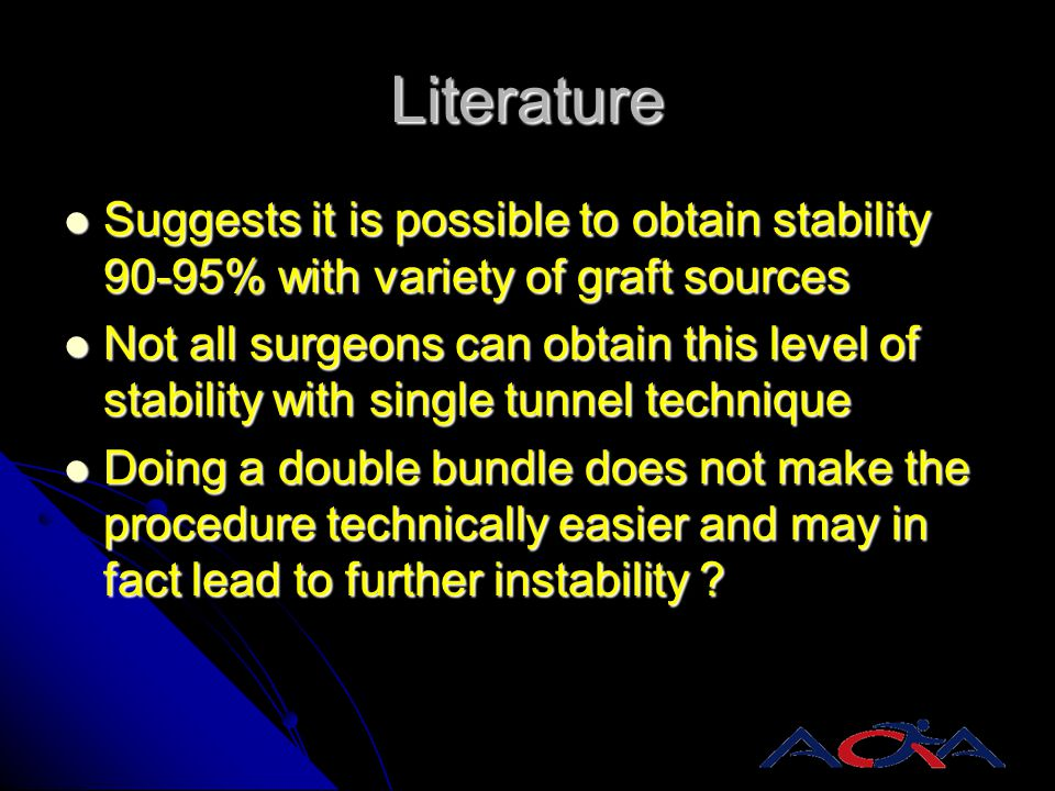 Literature Suggests it is possible to obtain stability 90-95% with variety of graft sources Suggests it is possible to obtain stability 90-95% with va