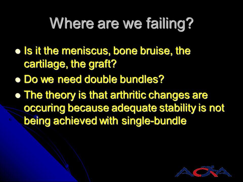 Where are we failing? Is it the meniscus, bone bruise, the cartilage, the graft? Is it the meniscus, bone bruise, the cartilage, the graft? Do we need