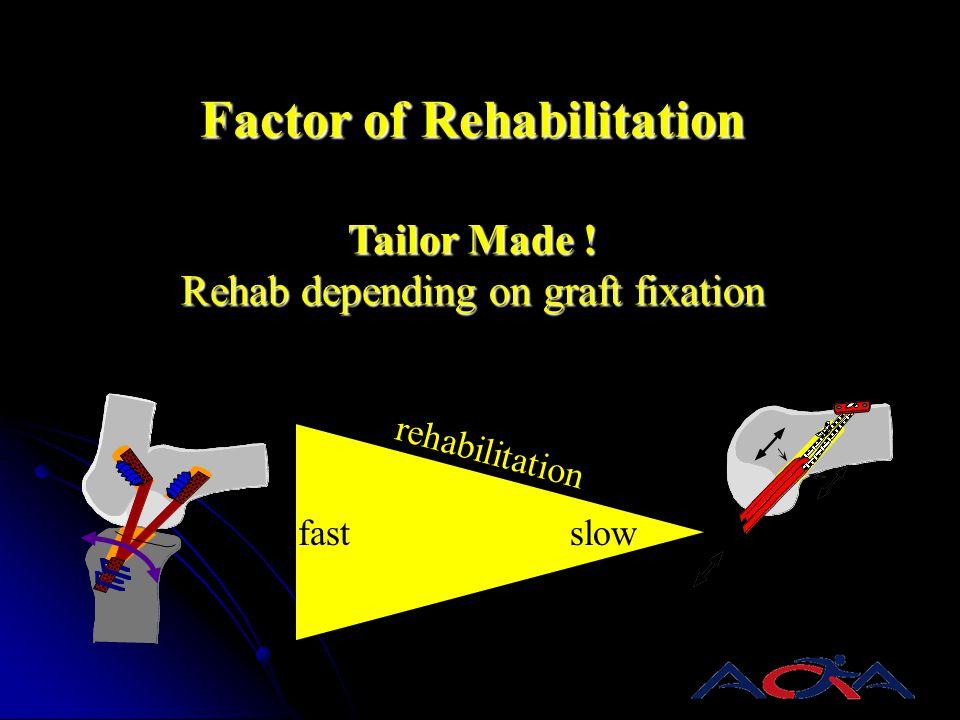 Factor of Rehabilitation Tailor Made ! Rehab depending on graft fixation slow rehabilitation fast