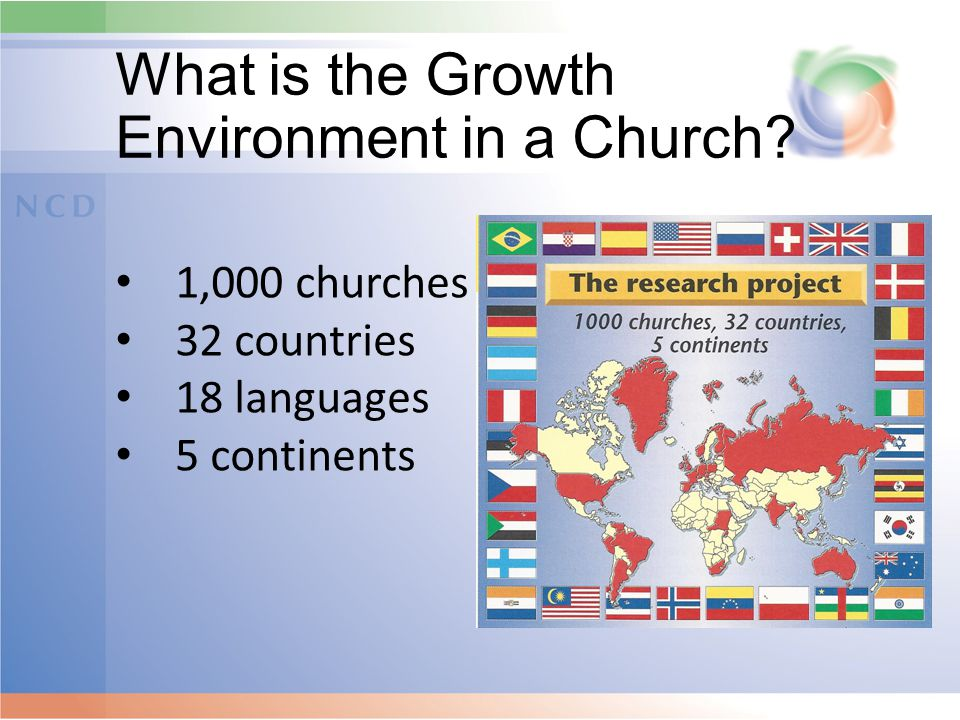What is the Growth Environment in a Church? 1,000 churches 32 countries 18 languages 5 continents