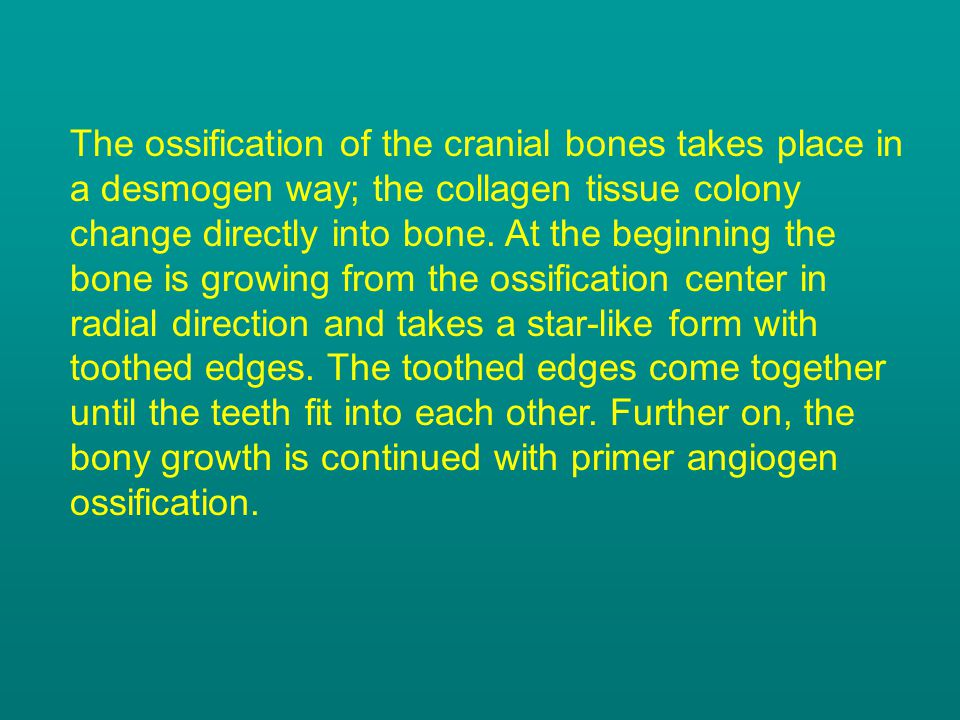 The craniosynostosis is an irregularity of development resulting from the early (premature) ossification of the immovable joints between the cranial bones.