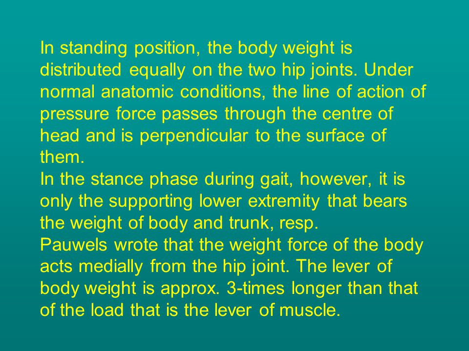 In standing position, the body weight is distributed equally on the two hip joints. Under normal anatomic conditions, the line of action of pressure f