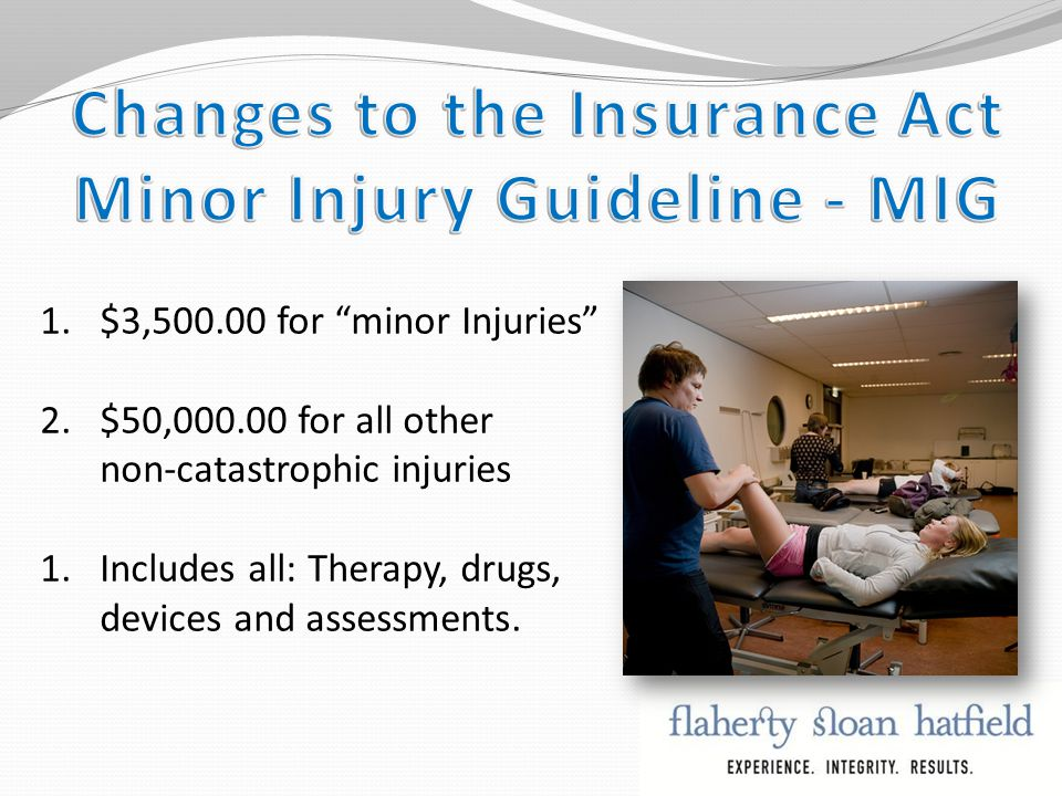 1.$3,500.00 for minor Injuries 2.$50,000.00 for all other non-catastrophic injuries 1.Includes all: Therapy, drugs, devices and assessments.
