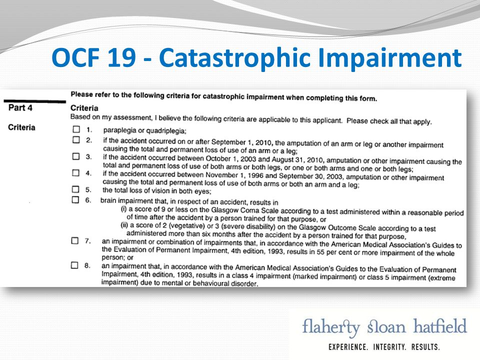 OCF 19 - Catastrophic Impairment