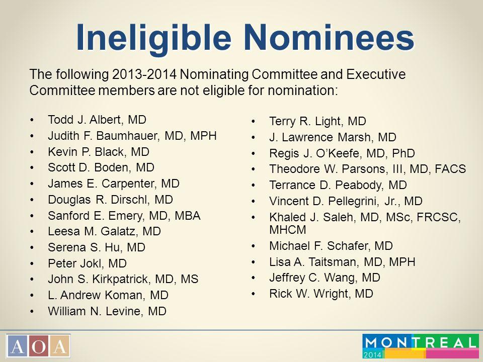 Ineligible Nominees Todd J. Albert, MD Judith F. Baumhauer, MD, MPH Kevin P. Black, MD Scott D. Boden, MD James E. Carpenter, MD Douglas R. Dirschl, M