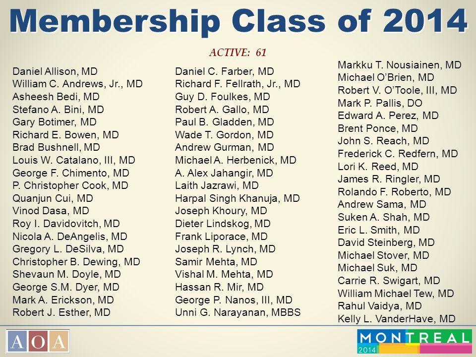 Membership Class of 2014 ACTIVE: 61 Daniel Allison, MD William C. Andrews, Jr., MD Asheesh Bedi, MD Stefano A. Bini, MD Gary Botimer, MD Richard E. Bo