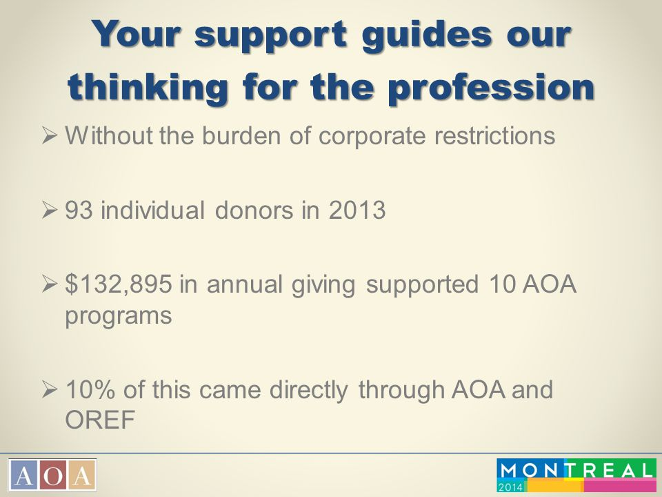 Your support guides our thinking for the profession  Without the burden of corporate restrictions  93 individual donors in 2013  $132,895 in annual