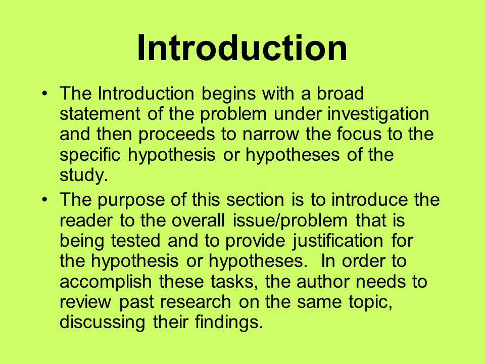 Methods The purpose of the Method section is to provide a detailed description of how the study was conducted.