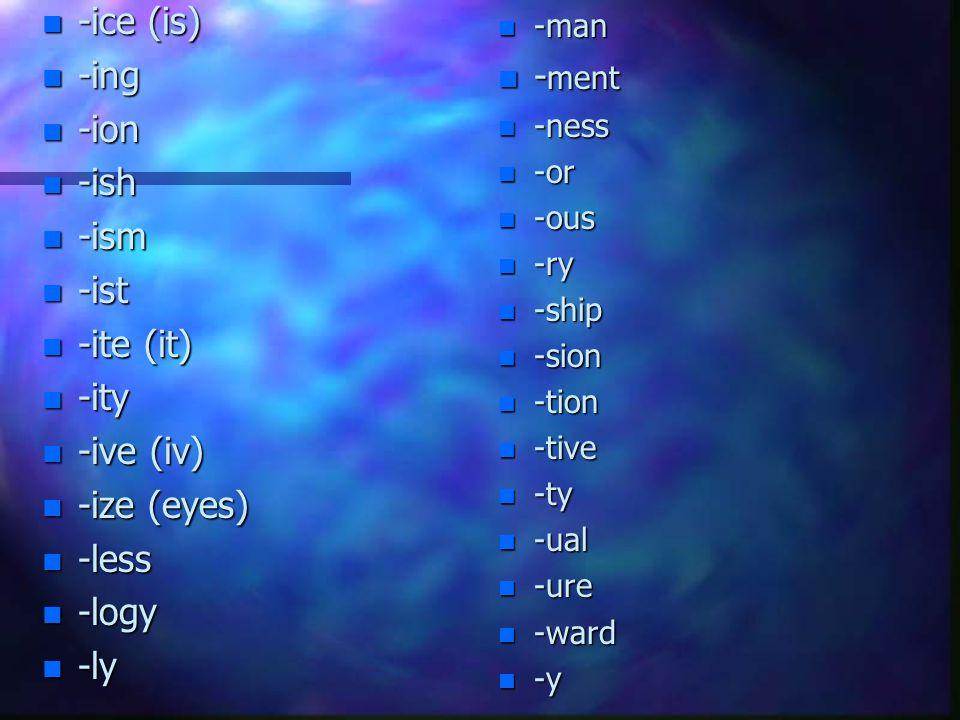 Suffix List n -able n -age n -al n -ance n -ar n -ant n -ate n -ble n -cy n -ed n -en n -ence n -ent n -er n -es n -est n -ey n -ful n -gamy n -gon n