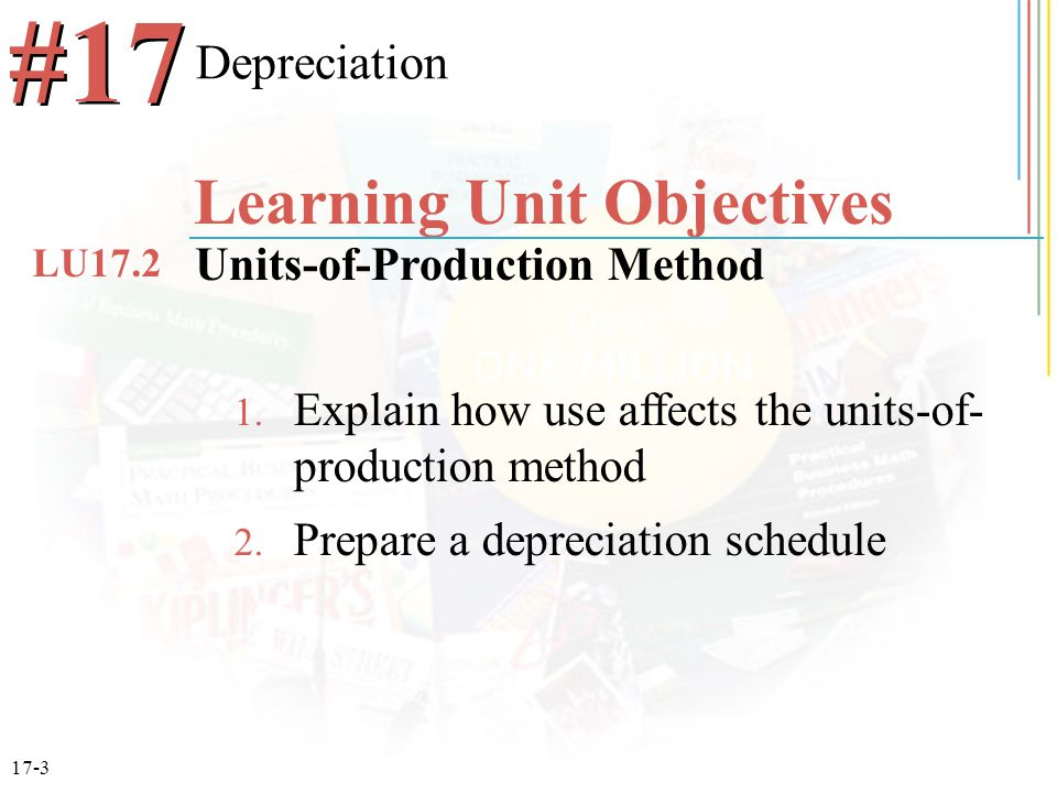 17-3 1. Explain how use affects the units-of- production method 2.