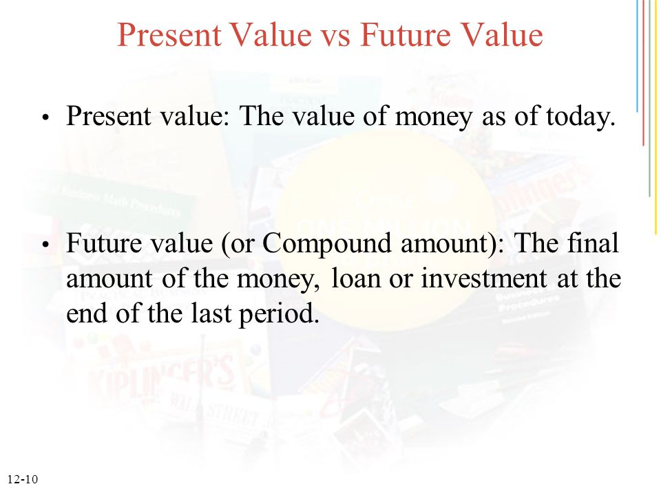 12-10 Present Value vs Future Value Present value: The value of money as of today.