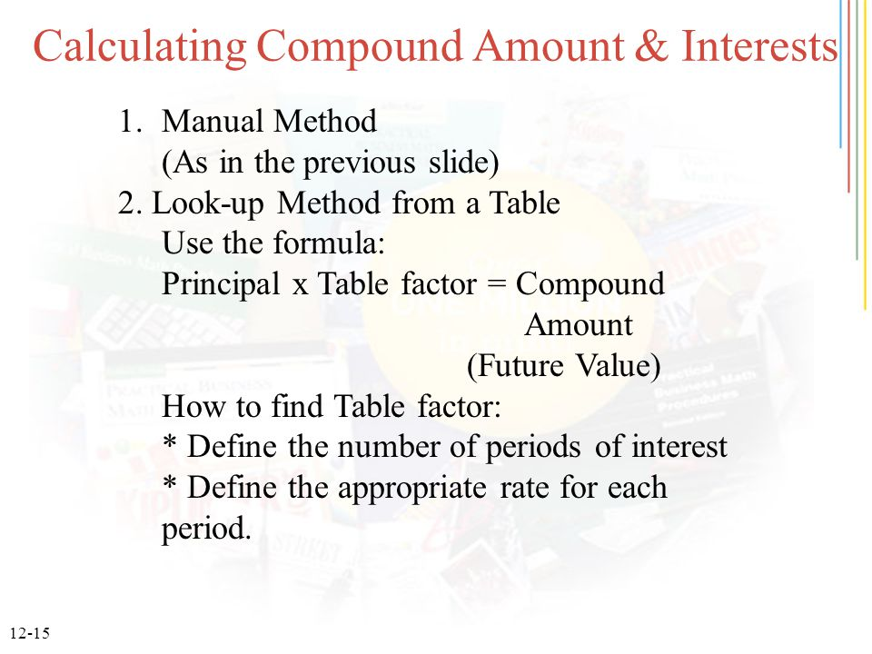 12-15 Calculating Compound Amount & Interests 1.Manual Method (As in the previous slide) 2. Look-up Method from a Table Use the formula: Principal x T