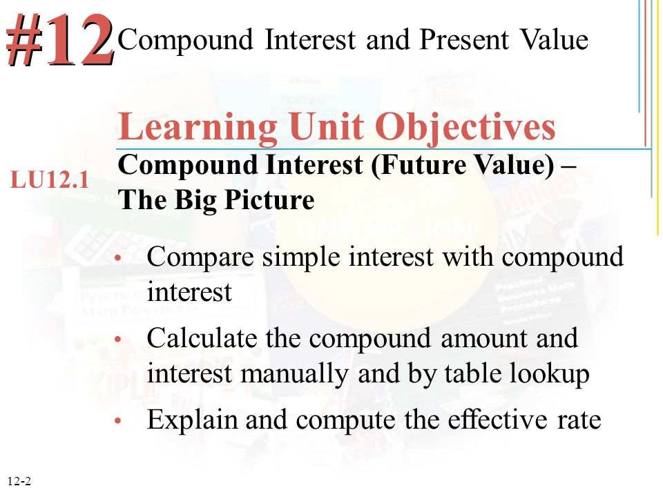 12-2 Compare simple interest with compound interest Calculate the compound amount and interest manually and by table lookup Explain and compute the effective rate Compound Interest and Present Value #12 Learning Unit Objectives Compound Interest (Future Value) – The Big Picture LU12.1