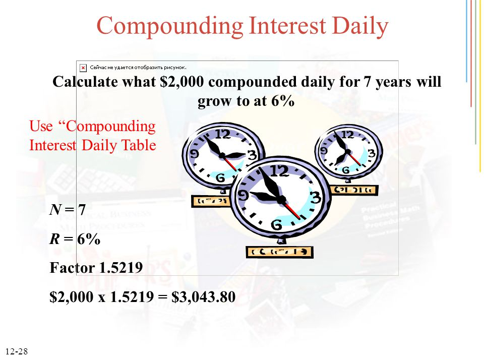 12-28 Compounding Interest Daily Calculate what $2,000 compounded daily for 7 years will grow to at 6% N = 7 R = 6% Factor 1.5219 $2,000 x 1.5219 = $3,043.80 Use Compounding Interest Daily Table
