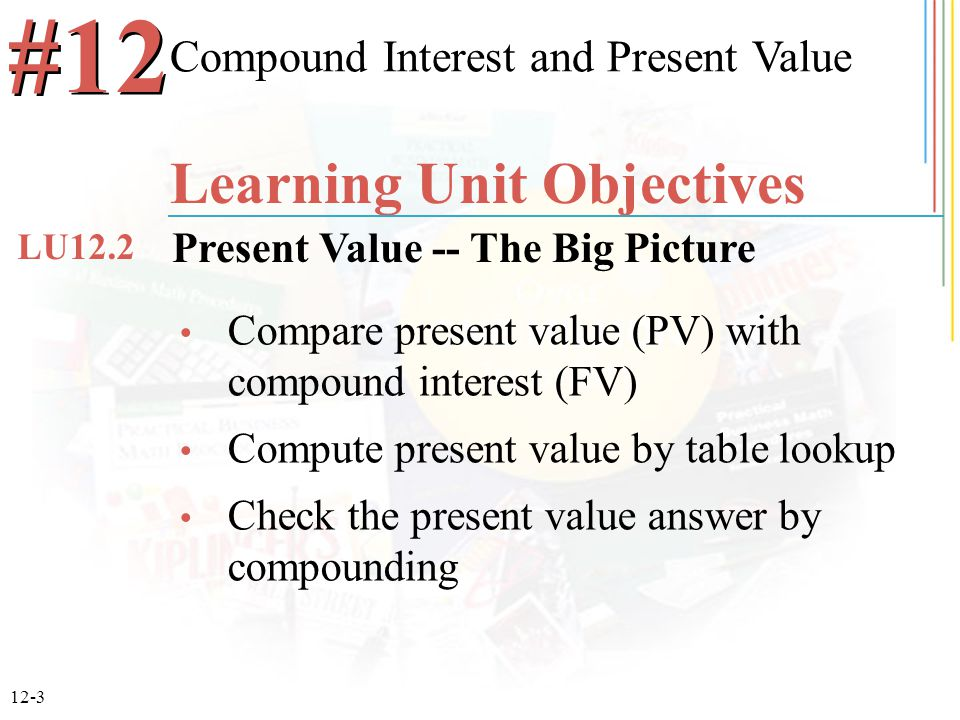 12-3 Compare present value (PV) with compound interest (FV) Compute present value by table lookup Check the present value answer by compounding Compou