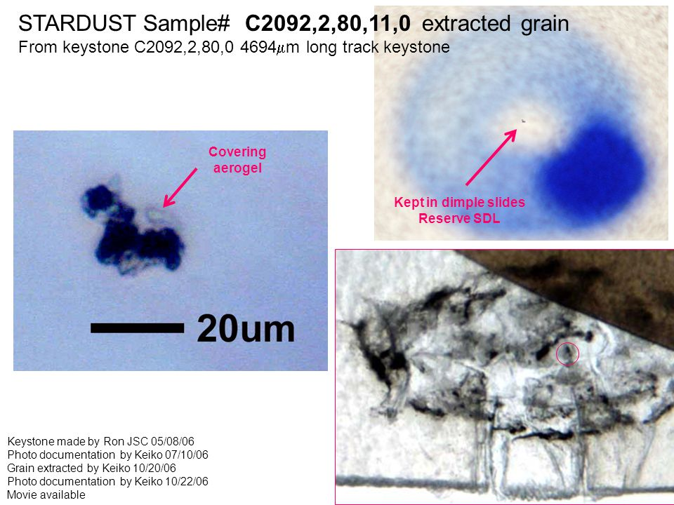 STARDUST Sample# C2092,2,80,11,0 extracted grain From keystone C2092,2,80,0 4694  m long track keystone Keystone made by Ron JSC 05/08/06 Photo documentation by Keiko 07/10/06 Grain extracted by Keiko 10/20/06 Photo documentation by Keiko 10/22/06 Movie available Kept in dimple slides Reserve SDL Covering aerogel