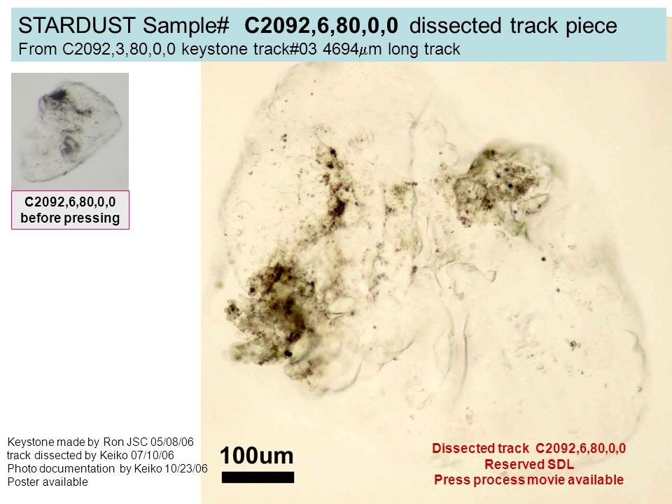 STARDUST Sample# C2092,6,80,0,0 dissected track piece From C2092,3,80,0,0 keystone track#03 4694  m long track Keystone made by Ron JSC 05/08/06 track dissected by Keiko 07/10/06 Photo documentation by Keiko 10/23/06 Poster available Dissected track C2092,6,80,0,0 Reserved SDL Press process movie available C2092,6,80,0,0 before pressing