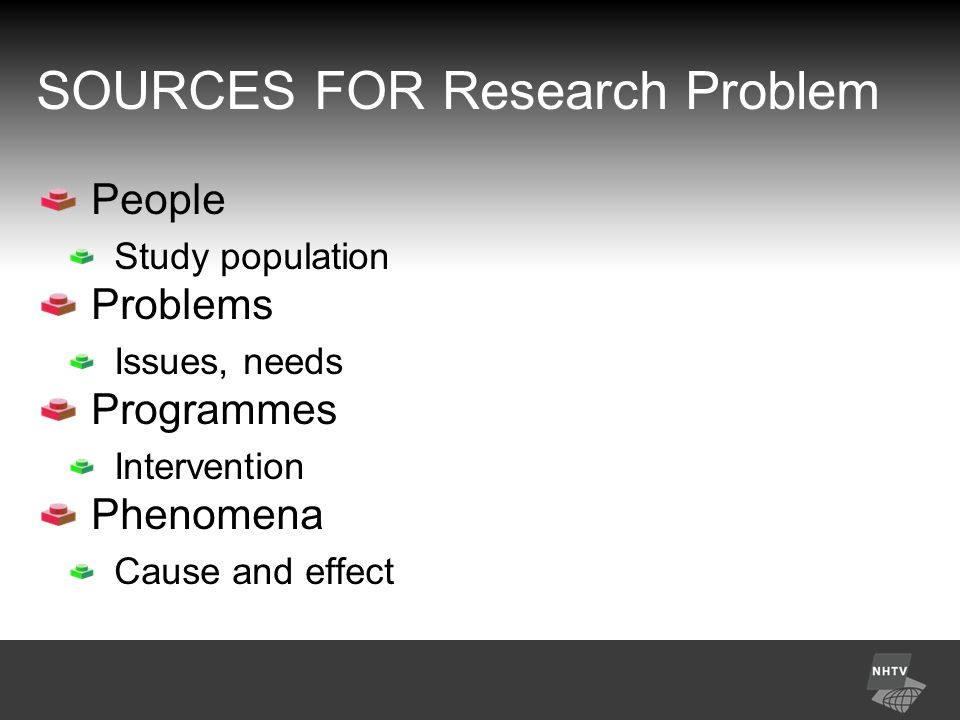 SOURCES FOR Research Problem People Study population Problems Issues, needs Programmes Intervention Phenomena Cause and effect
