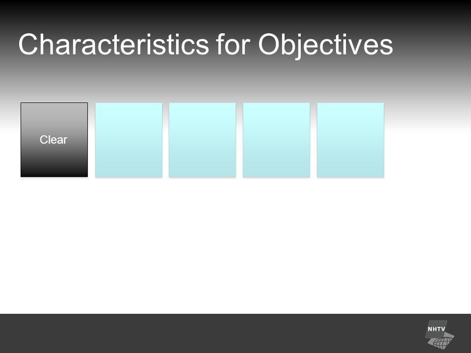 Characteristics for Objectives Clear