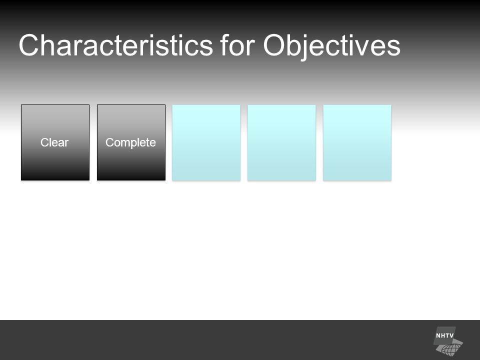 Characteristics for Objectives Clear Complete