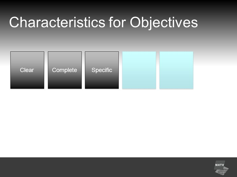 Characteristics for Objectives Clear Complete Specific