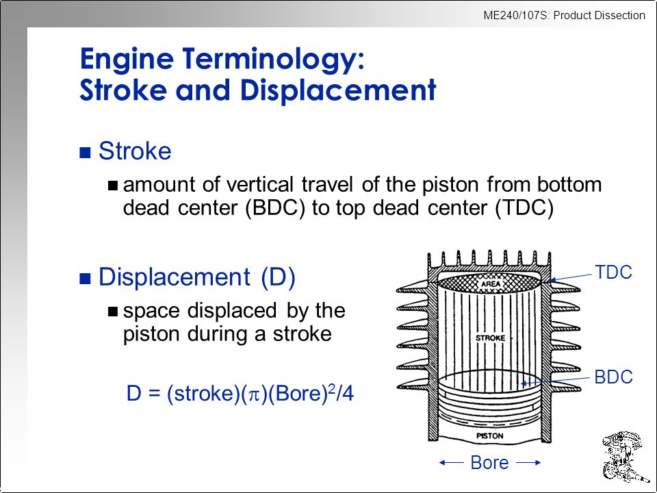 ME240/107S: Product Dissection Engine Terminology: Compression Ratio n Compression ratio (CR): n ratio of total volume to the volume of the combustion chamber n spark ignition engines have CR = 7-12 CR = (C + D)/C where C = volume of combustion chamber D = displacement
