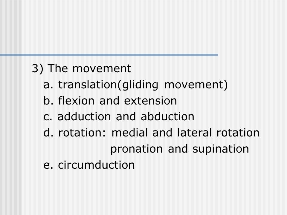 3) The movement a. translation(gliding movement) b.