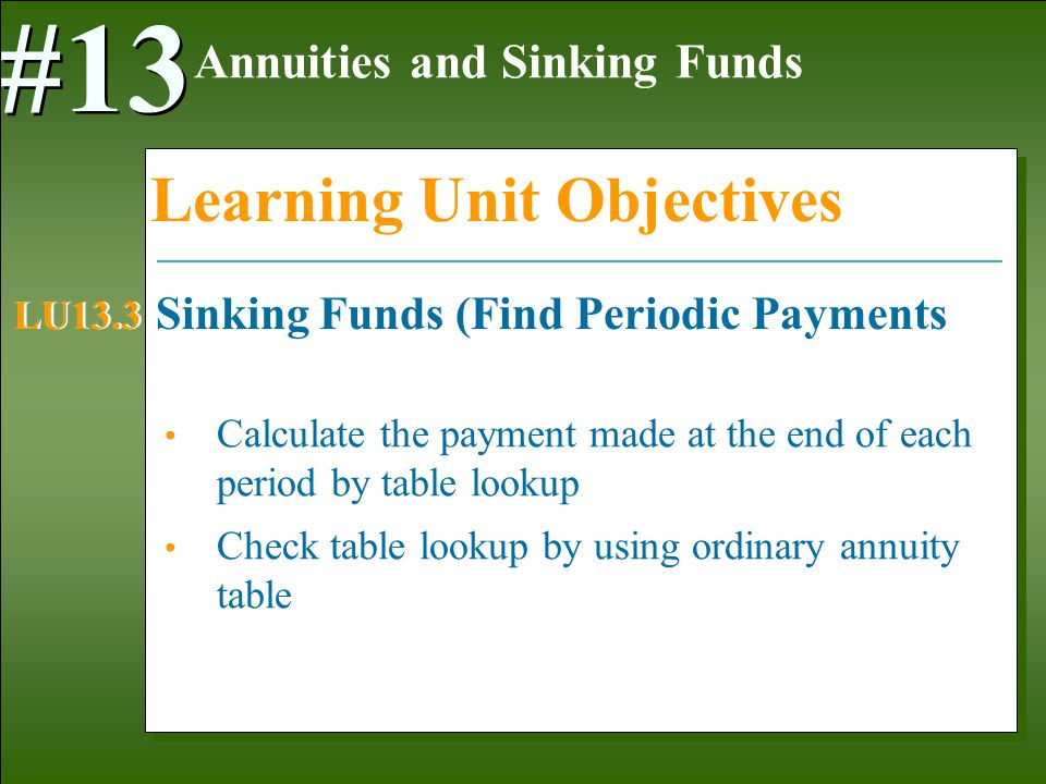 1-5 Calculate the payment made at the end of each period by table lookup Check table lookup by using ordinary annuity table Annuities and Sinking Funds #13 Learning Unit Objectives Sinking Funds (Find Periodic Payments LU13.3