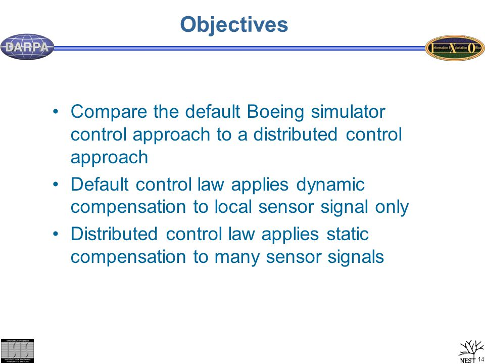 14 Objectives Compare the default Boeing simulator control approach to a distributed control approach Default control law applies dynamic compensation