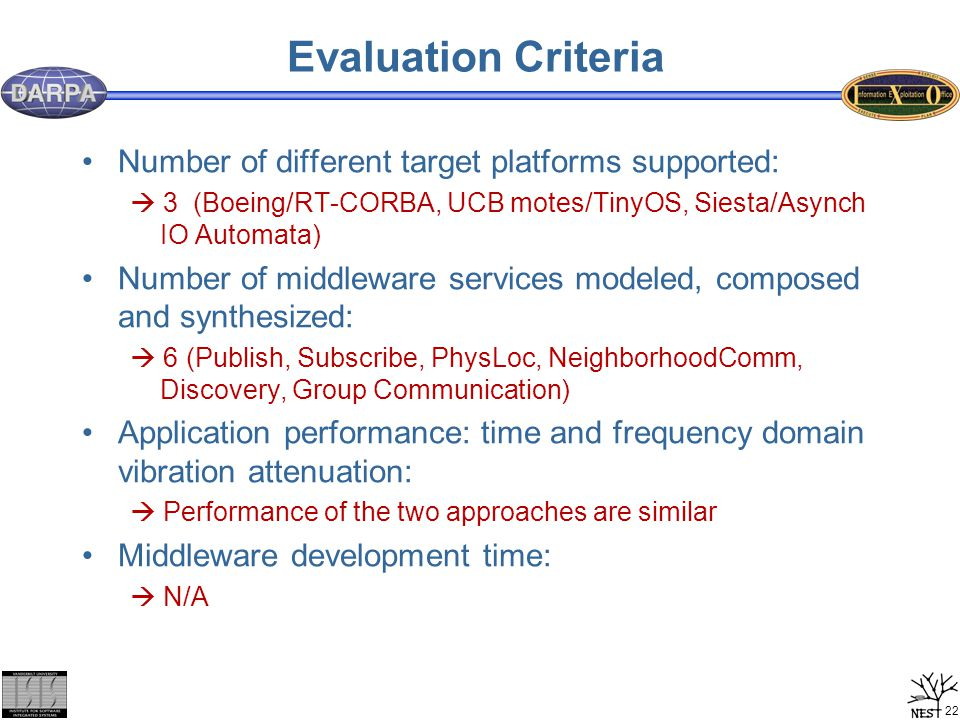 22 Evaluation Criteria Number of different target platforms supported:  3 (Boeing/RT-CORBA, UCB motes/TinyOS, Siesta/Asynch IO Automata) Number of mi