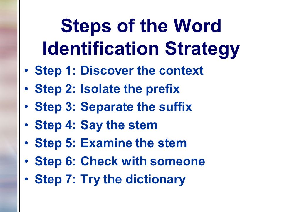 Steps of the Word Identification Strategy Step 1:Discover the context Step 2:Isolate the prefix Step 3:Separate the suffix Step 4:Say the stem Step 5: