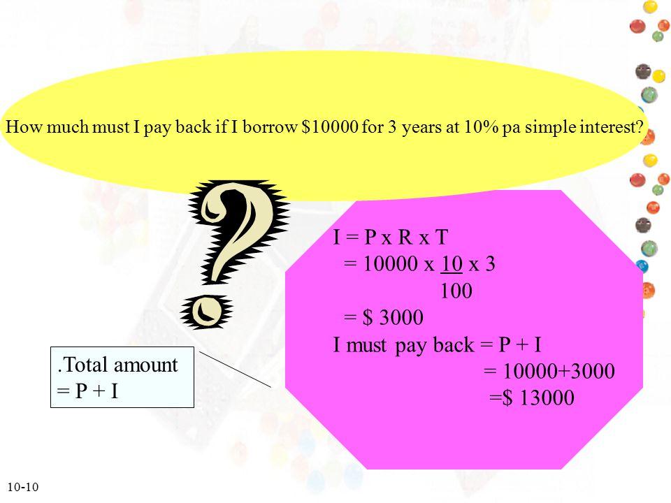10-10 I = P x R x T = 10000 x 10 x 3 100 = $ 3000 I must pay back = P + I = 10000+3000 =$ 13000 How much must I pay back if I borrow $10000 for 3 year