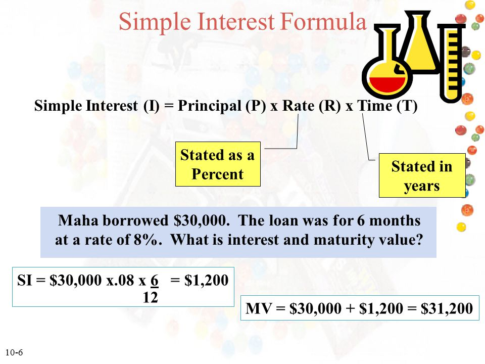 10-6 Simple Interest Formula Simple Interest (I) = Principal (P) x Rate (R) x Time (T) Stated as a Percent Stated in years Maha borrowed $30,000. The