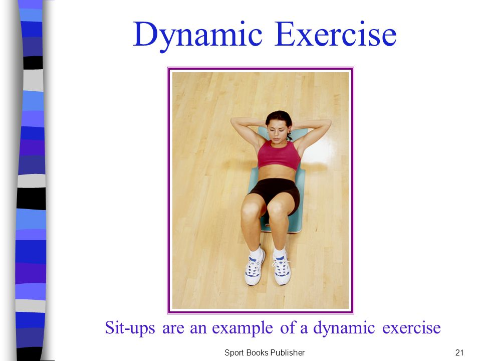 Sport Books Publisher21 Dynamic Exercise Sit-ups are an example of a dynamic exercise