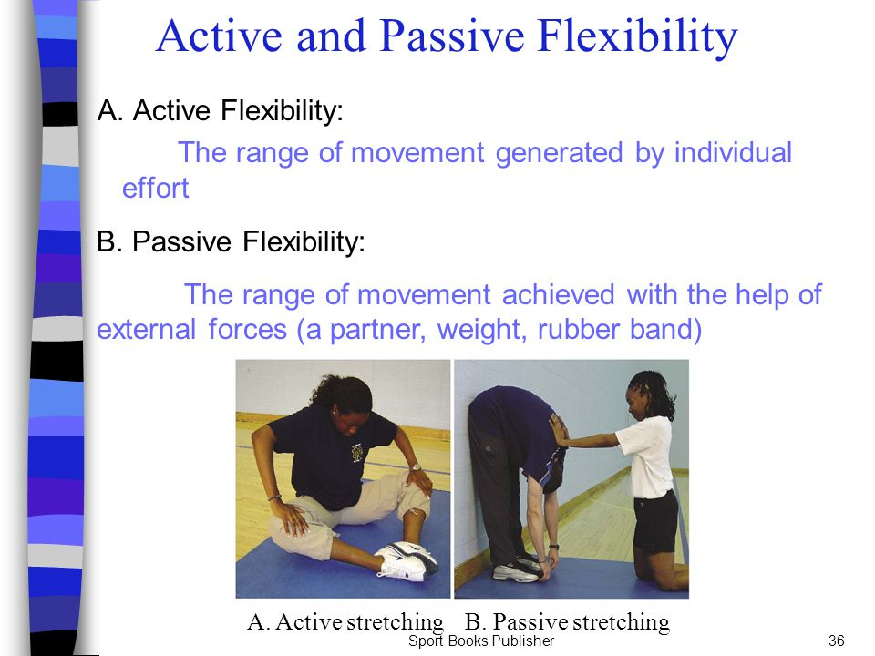 Sport Books Publisher36 Active and Passive Flexibility A. Active Flexibility: The range of movement generated by individual effort B. Passive Flexibil