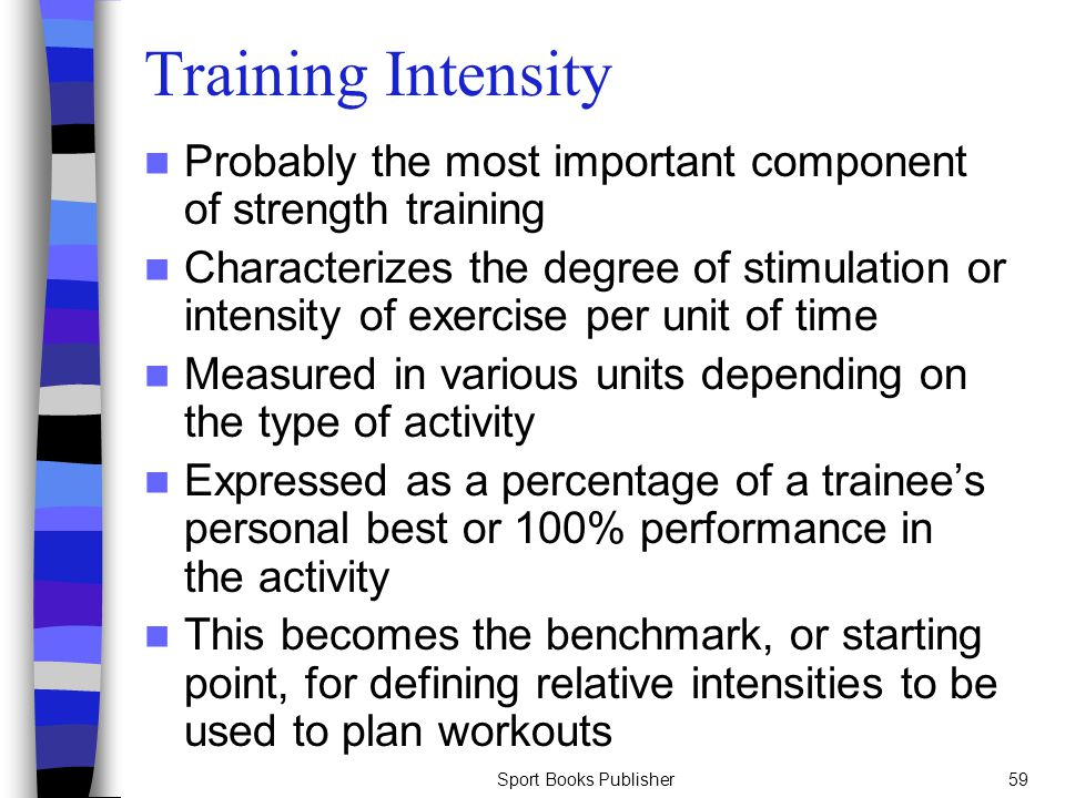Sport Books Publisher59 Training Intensity Probably the most important component of strength training Characterizes the degree of stimulation or inten